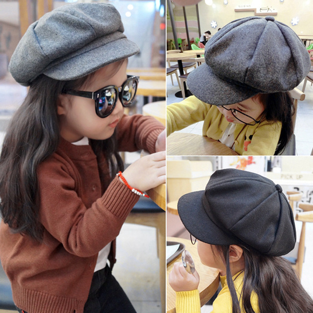 51053b26793 2017 New Kid Flat Cap For Boy Girl Cotton Berets Baby Hats Children Hat  Female Beret Pure Color Caps