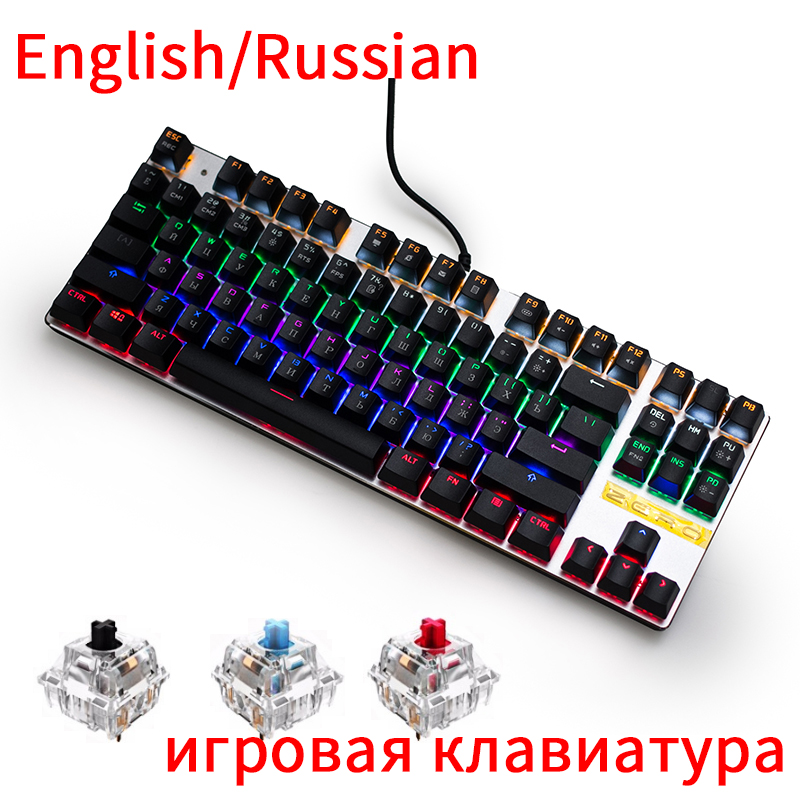 все цены на ZERO Russian Mechanical Gaming Keyboard 87 104 Keys Blue Red Black Switch Wired RGB Backlit Anti-Ghosting For overwatch PTUG LOL онлайн