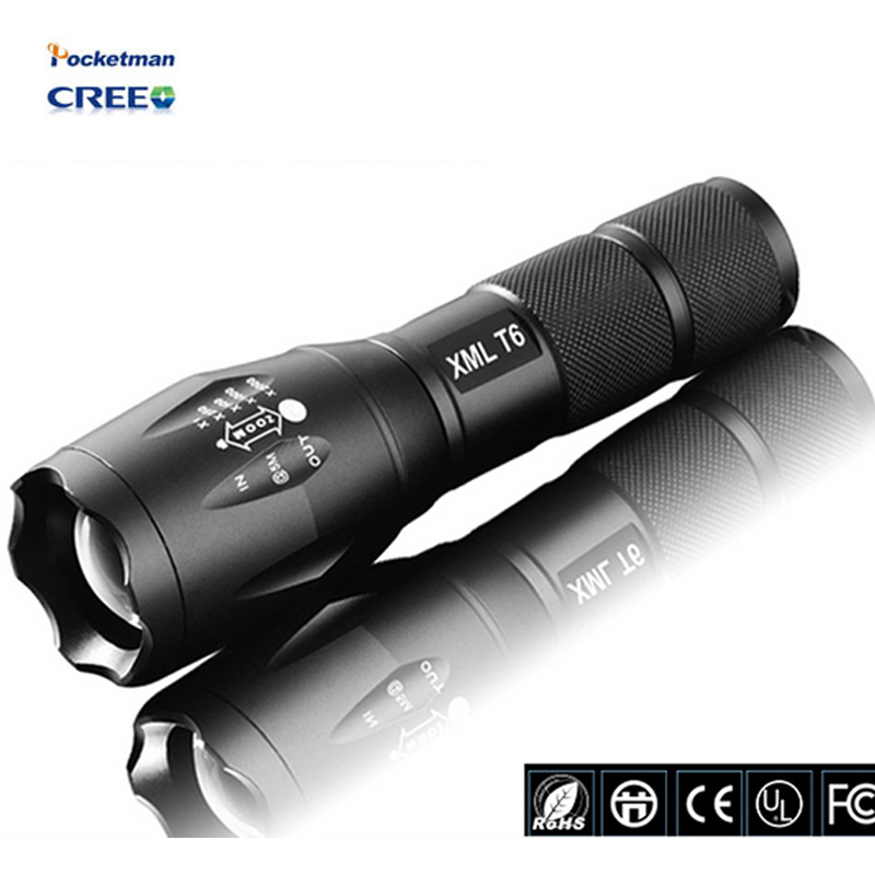 LED Flashlight 3800lumen cree xm-t6 zoomable led torch for 18650/AAA black Waterproof linterna led flashlights for Camping