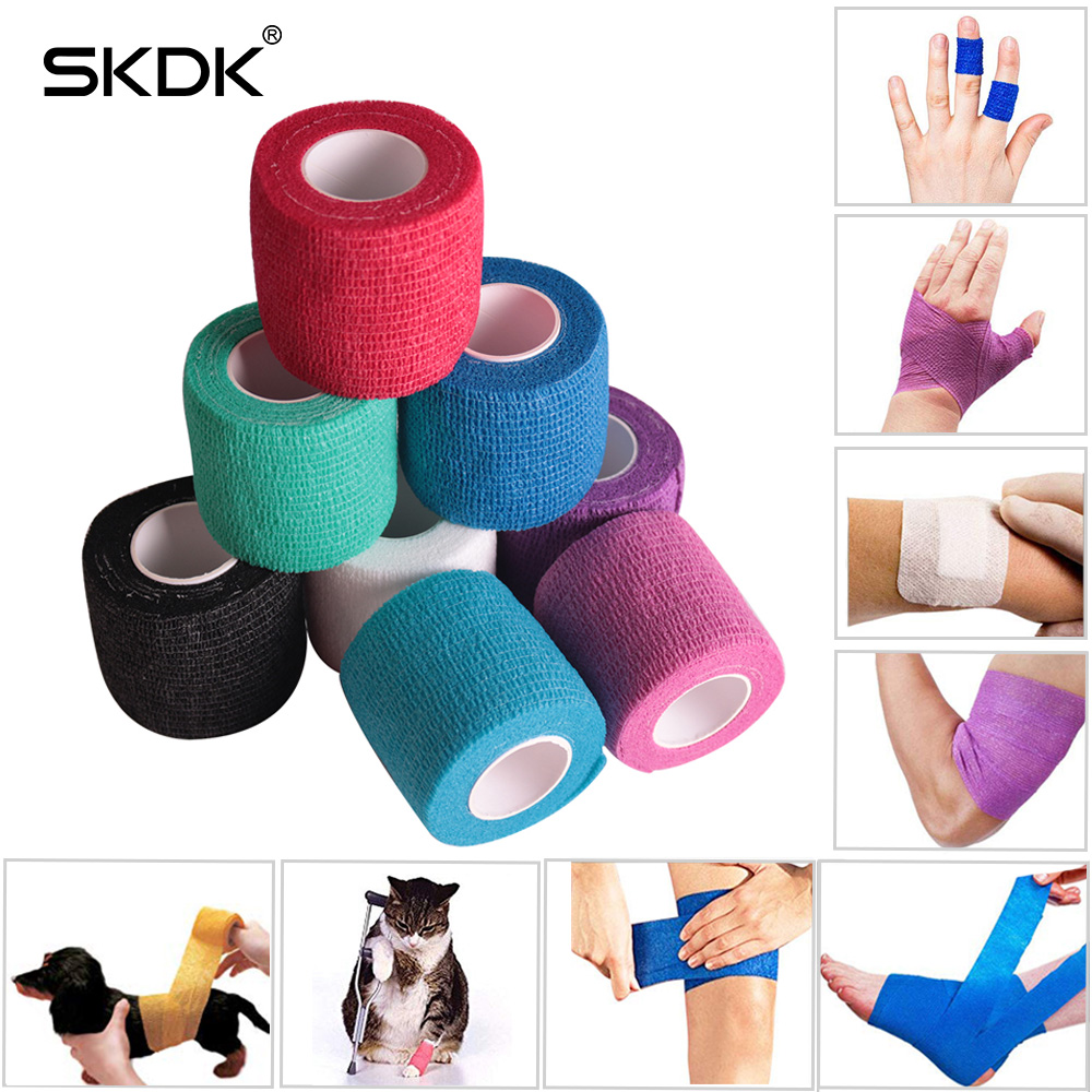 SKDK 4.5MColorful Sport Elastoplast Athletic Elastic Bandage Self Adhesive Wrap Tape Ankle Knee Arthrosis Protector(China)