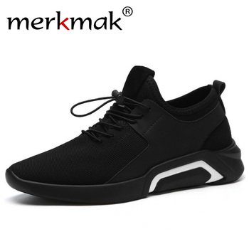 f9264e0fe Merkmak Marca 2019 Nova Malha Respirável Confortável Dos Homens Sapatos de  Caminhada Leve Masculino Sneakers Moda Lace Up Calçados Casuais