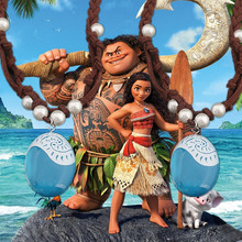 Moana Ocean romance Rope chain necklaces blue Stone pendants necklace for Kids birthday party favor