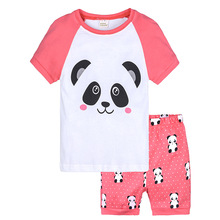 2019 Summer Pajamas New Girls Pink Sika Deer Cotton Clothes Kids Casual Homewear Set