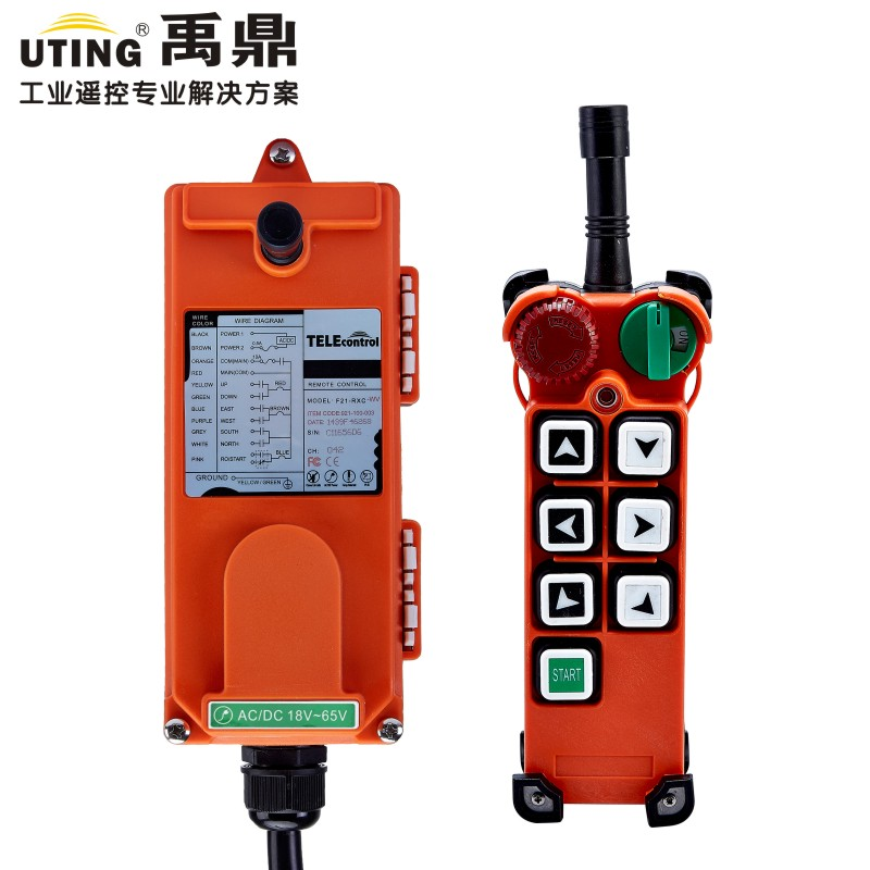 UTing F21-E2 Industrial Radio Crane Remote Control 433MHZ 18-65V Universal Wireless Control for Hoist  Crane f21 e2 radio industrial remote control for crane 6 button 1transmitter 1receiver