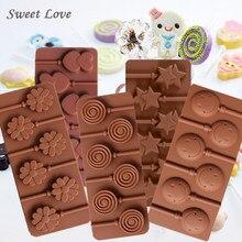 Lolipop silikon kalıp çörek gülen yüz çiçek kalp yıldız lolipop DIY çikolata kalıp kek dekorasyon araçları
