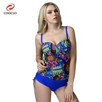 Plus Size One Piece Swimsuit Vintage Swimwear Backless Women Bathing Suits Print Beachwear