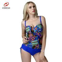 Plus Size One Piece Swimsuit Vintage Swimwear Backless Women Bathing Suits Print Beachwear