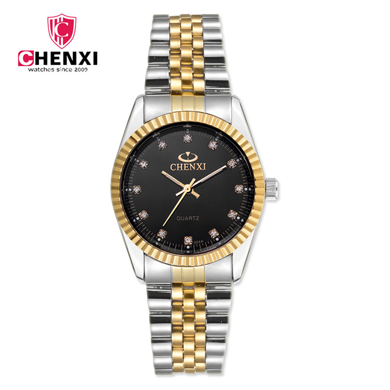 Waterproof Man Woman Gold Silver Casual Watch Luxury Brand CHENXI Full Steel Band Quartz Dress Wrist watches Lover's Gift Watch