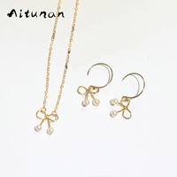 Aitunan Fashion Lovely Gold Handmade Jewelry Sets Bow Natural Freshwater Pearls Necklace Choker Collar Bone Chain
