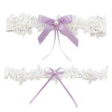 1 шт./2 шт., женские свадебные облегающие кольца, цветочная кружевная вышивка, искусственный жемчуг, лента с бантом, эластичные свадебные подвязки для ног