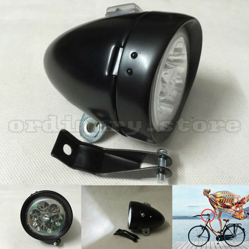Bright 6 LED Metal Black Classic Vintage Motorcycle Bicycle Headlight Bike Front <font><b>Light</b></font> Retro Cycling Safety Night Head Lamp