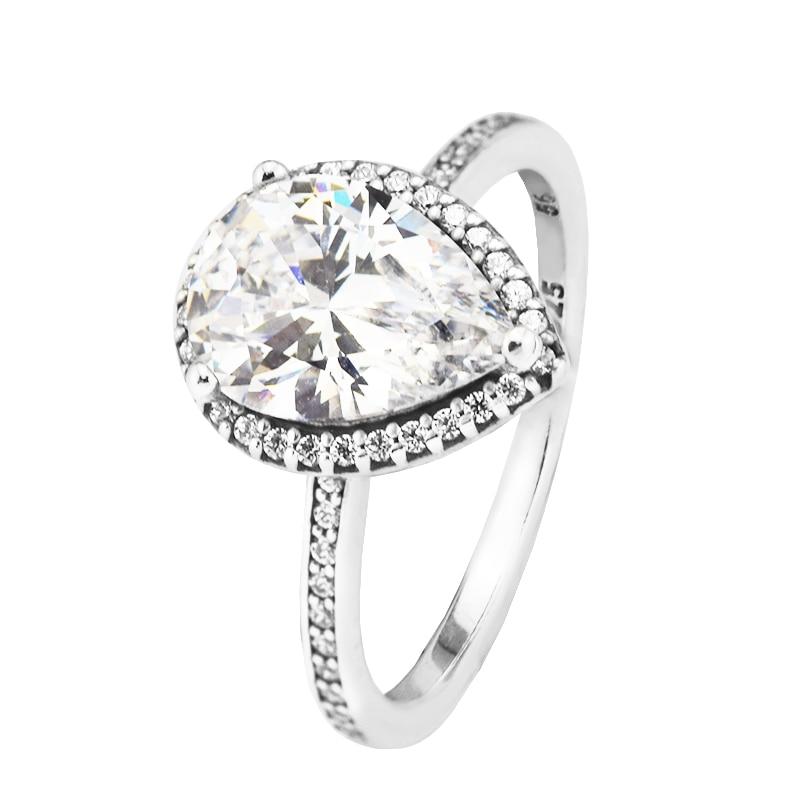 925 Sterling Silver Radiant Heart Engagement Finger Ring Women 2017 Fine Jewelry Silver Enamel & Clear CZ Rings For Women Gift