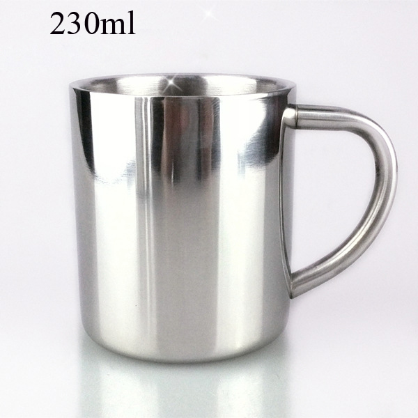 230ml Portable Mugs Student Double Wall Stainless Steel Insulated Mug Coffee Milk Tea Tumblers Cup For