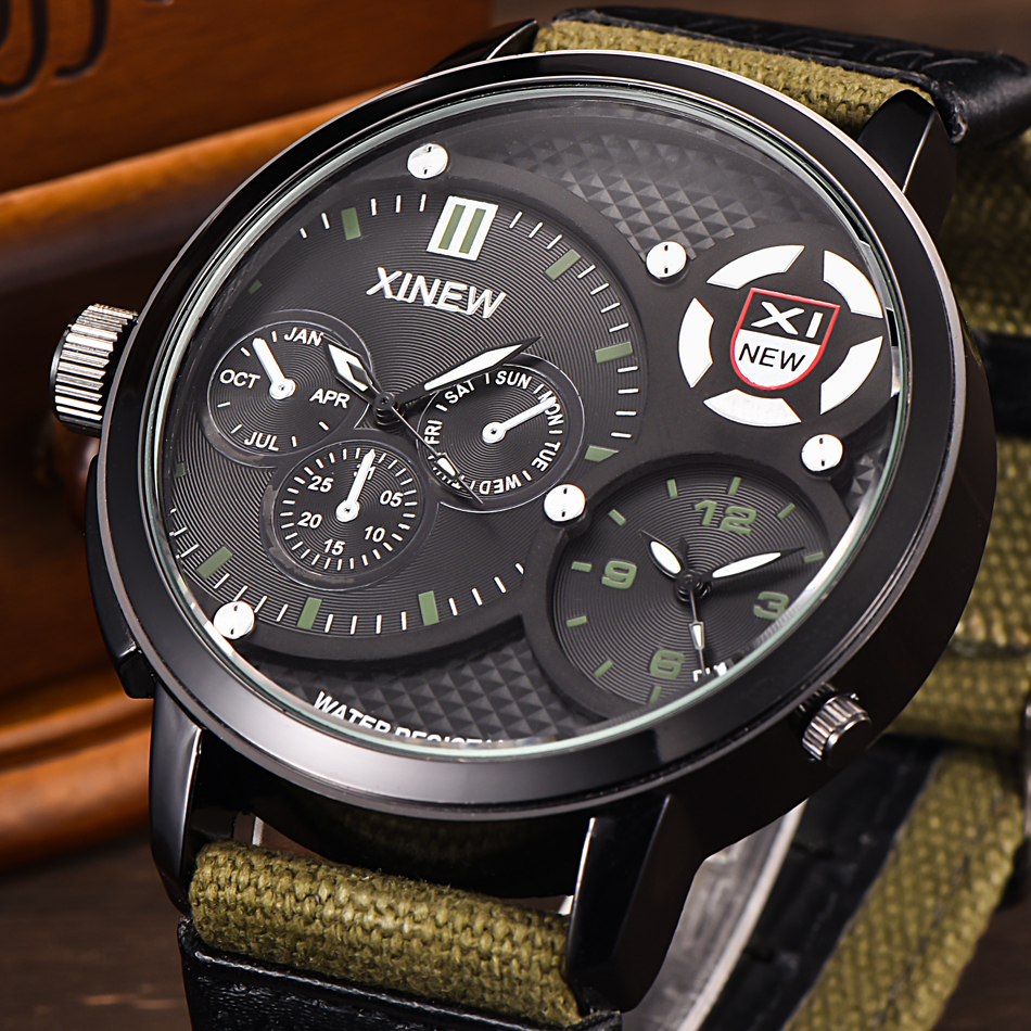 5.2cm Big Face Clock XINEW Watches Mens Waterproof Qu