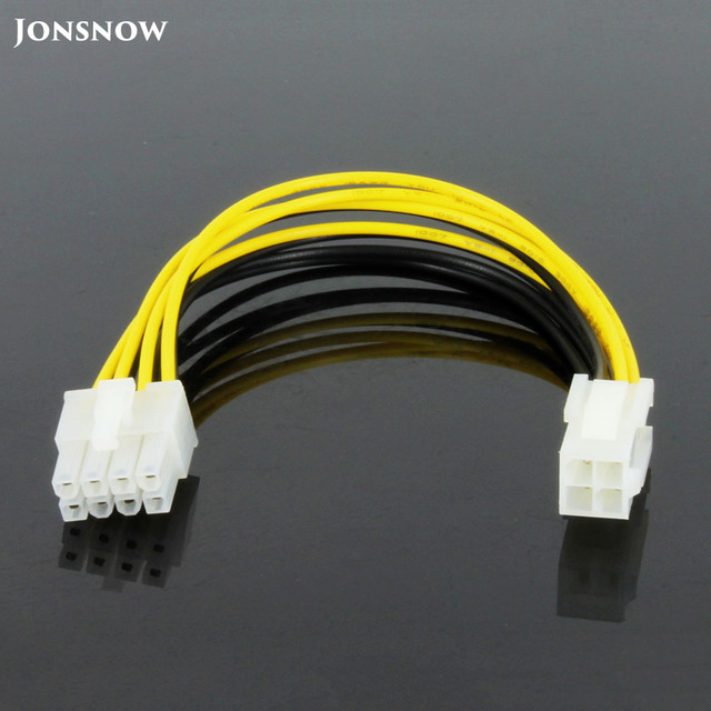 جونزو العرض الساخن 20 سنتيمتر 8 دبوس ذكر إلى 4 دبوس أنثى PC وحدة المعالجة المركزية امدادات الطاقة تمديد كابل الحبل موصل محول