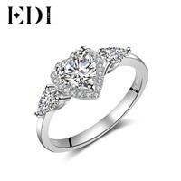 EDI Для женщин три каменное сердце 6 мм 14 К белый Обручение себе кольцо для Для женщин Обручальные кольца украшения Ювелирные украшения подар