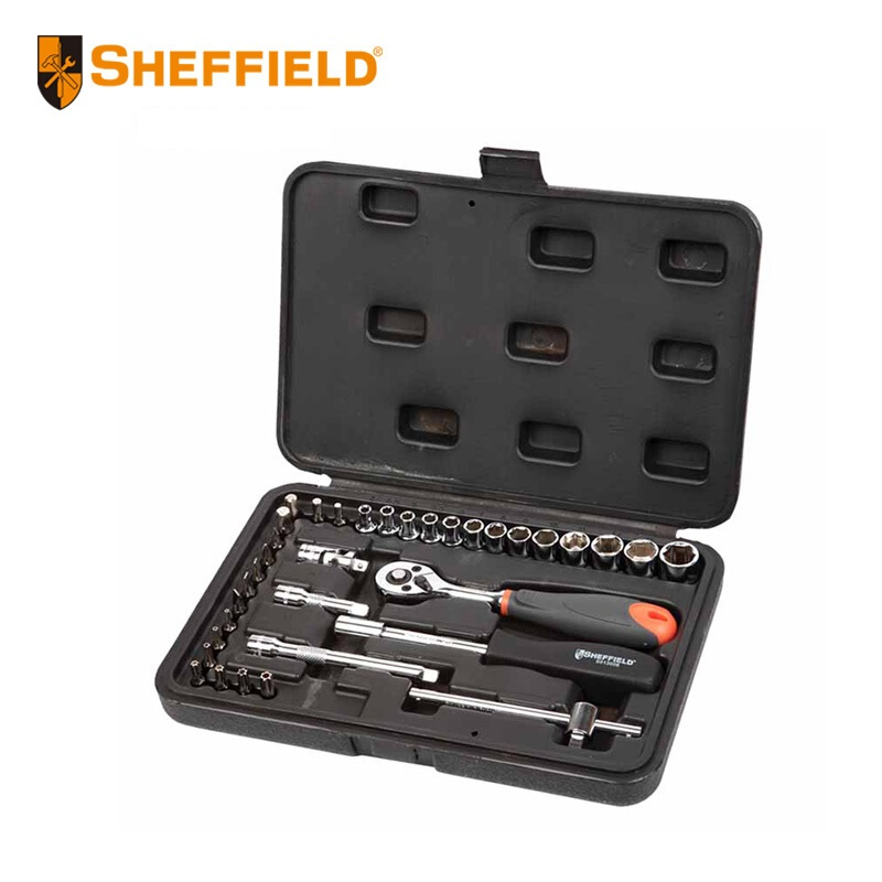 SHEFFIELD  35 pcs Tool Set Kit 6.3mm drive standard 6pt Socket drive Ratchet wrenches, wrench adaptor, hardware tools set box 46pcs socket set 1 4 drive ratchet wrench spanner multifunctional combination household tool kit car repair tools set