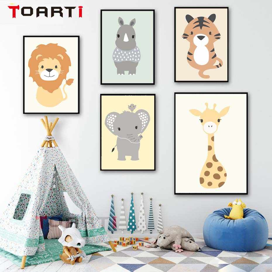 Funny Woodland Animals Wall Art Canvas Painting Colorful Cartoon Poster&Prints Nursery Mural Picture For Child Room Home Decor