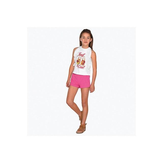 Комплект: Футболка с длинным рукавом и шорты Mayoral для девочки