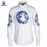Mens Dress Shirts Camisas Masculina Chinese Dragon Printed Shirt Men Brand Design Chemise Homme Casual Slim Fit Long Sleeve