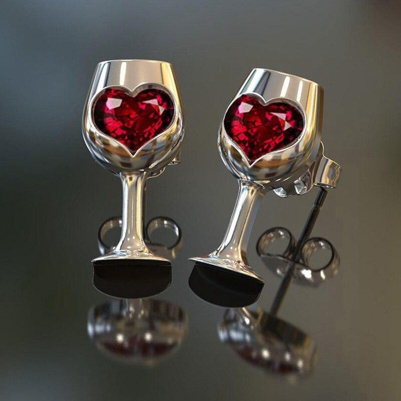 Moda coréia personalidade vinho tinto taças amor coração brincos linda cerveja copo de vinho brincos festa menina jóias presente