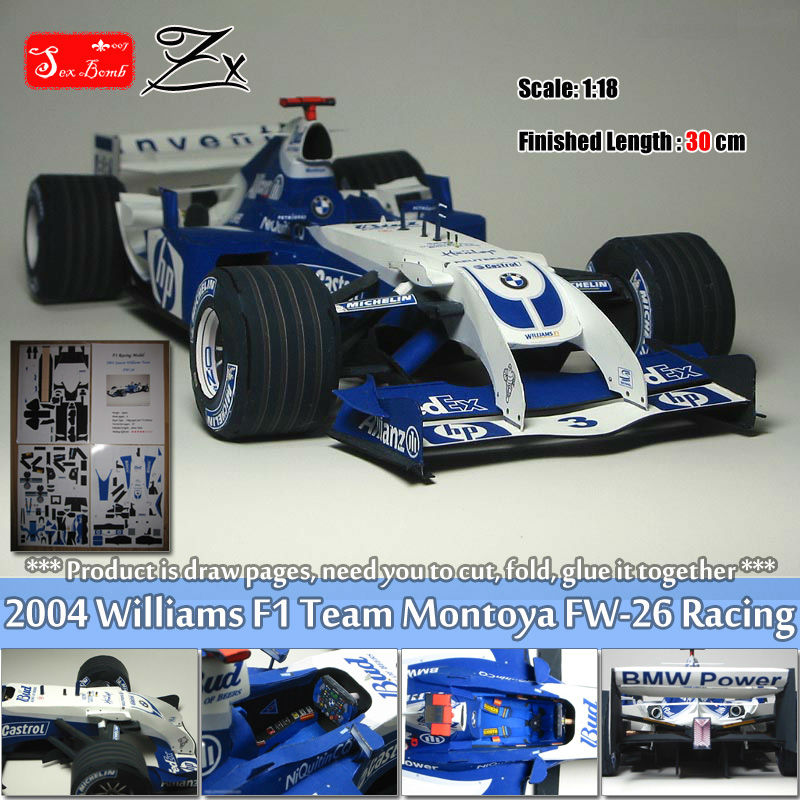 US $15 93 20% OFF New Scale 1:18 Montoya 2004 Williams F1 Team FW 26 Racing  car 3d paper model toys for hobby f1 Formula Racing car toy figure-in