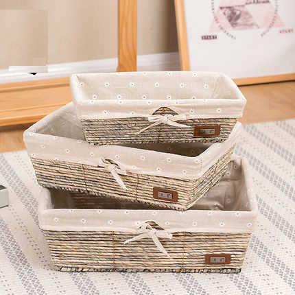 Armazenamento rattan cesta de armazenamento cesta de armazenamento caixa de acabamento caixa de artigos diversos de desktop caixa de armazenamento racks de lanche palha tecido quadro