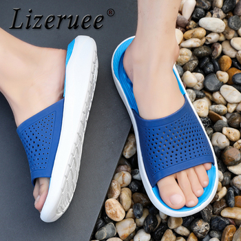 Lizeruee New 2019 Casual Mens Slippers Summer Outdoor Beach Slippers Flats Non-Slip Bathroom Mules Men Massage Home Slippers 2020 summer cool rhinestones slippers for male gold black loafers half slippers anti slip men casual shoes flats slippers wolf