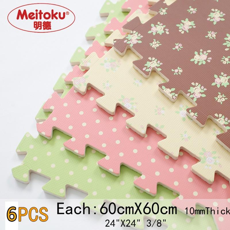Meitoku tapis de jeu en mousse EVA souple; tapis rampant interlock, tapis souple; chaque 60x60 cm d'épaisseur 1 cm 8 ou 16 dans un sac