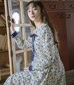 2016 новое прибытие сен ветер сладкий старинные Кружева кукла воротник лук цветочный принт платье mori девушка G270