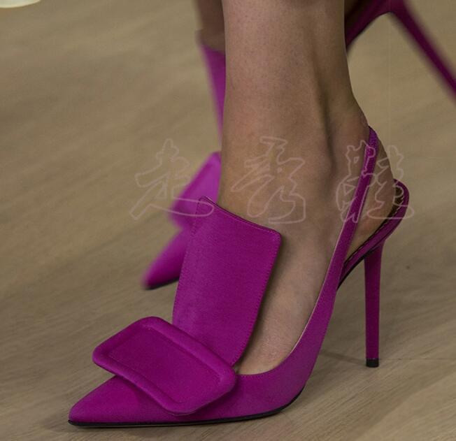 Moraima Snc Sexy bout pointu Slingback sandales femme piste chaussures à talons hauts de haute qualité en cuir pompes découpes robe talons