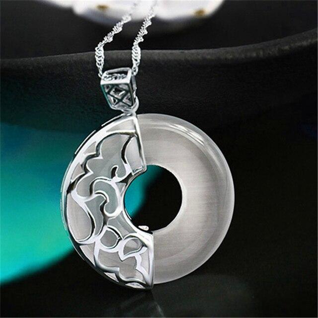 Artesanal elaborada! Genuine 925 Sterling Silver & Criado Gemstone. Mulheres Com Pingente Exclusivo & Delicate Oco Out Flor Design.