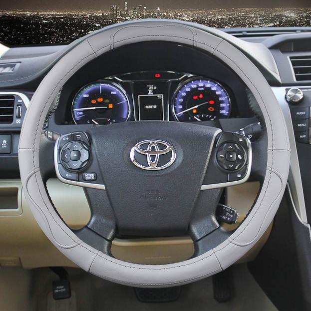 38cm Car Genuine Leather Steering Wheel Cover For Toyota Corolla Vios Reiz Yaris Camry Aurion Rav4