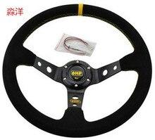 Unversal 14inch 350mm Deep Corn Drifting OMP Steering Wheel racing sport Steering Wheel Cover