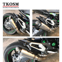 TKOSM Motorcycle Exhaust Pipe 51mm 60 Mm Inlet Tube Exhaust Pipe Stainless Steel With Laser Logo