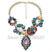 Xl00625 Verklaring Merk Mode Antieke Goud Kleur Bijoux Banket Crystal Hanger Bloemen Bohemian Ketting