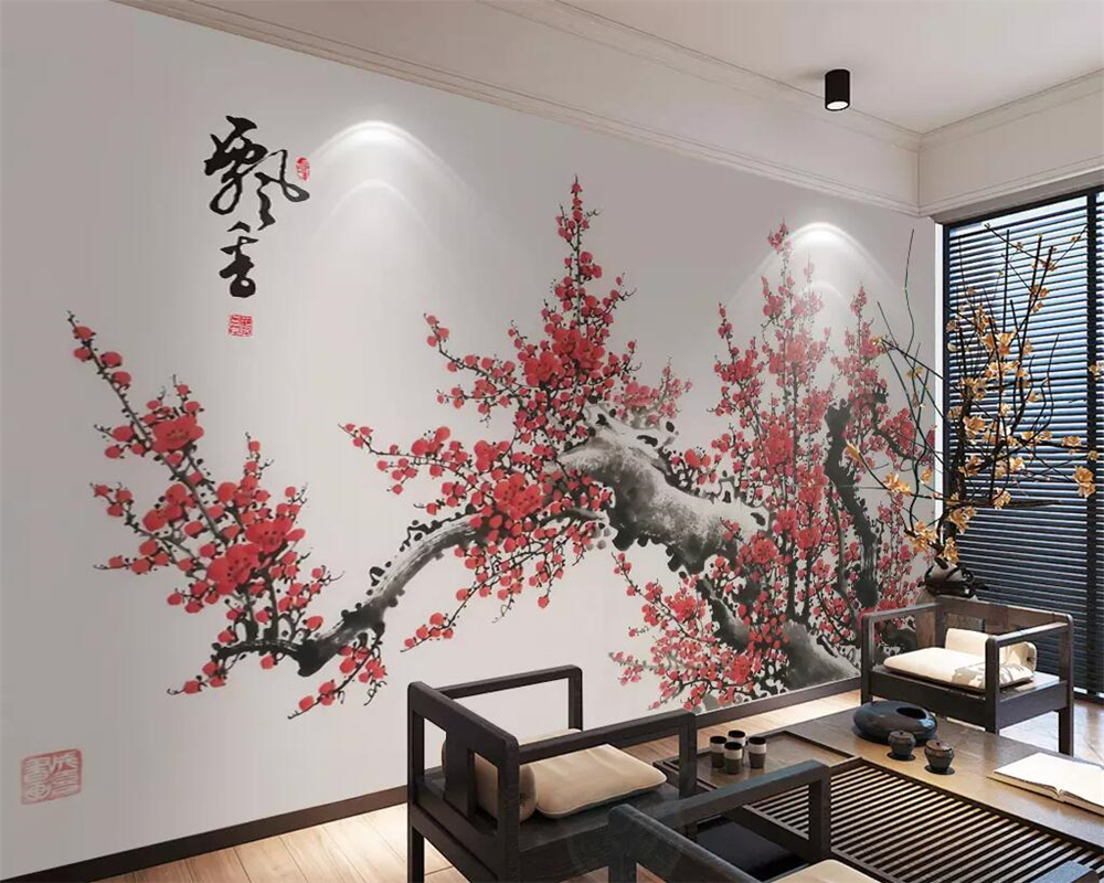 Beibehang 3d Wallpaper Chinese Style Hand-painted Plum Living Room Bedroom Wall Restaurant Room Decoration Background Wallpaper