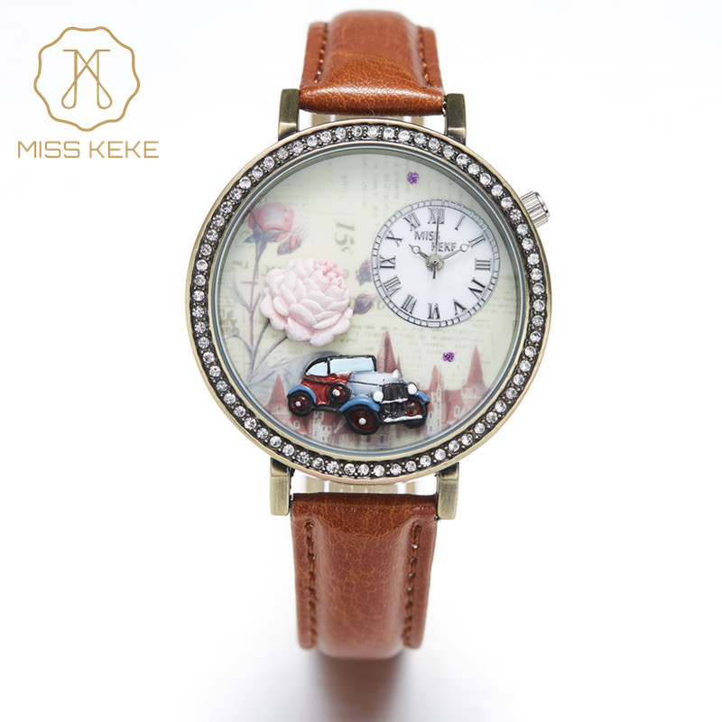 3d Clay Retro Car Floral Rose Design Vintage Rhinestone Watches Miss Keke Relogio Feminino Dames Dames Leather Wristwatch 1814