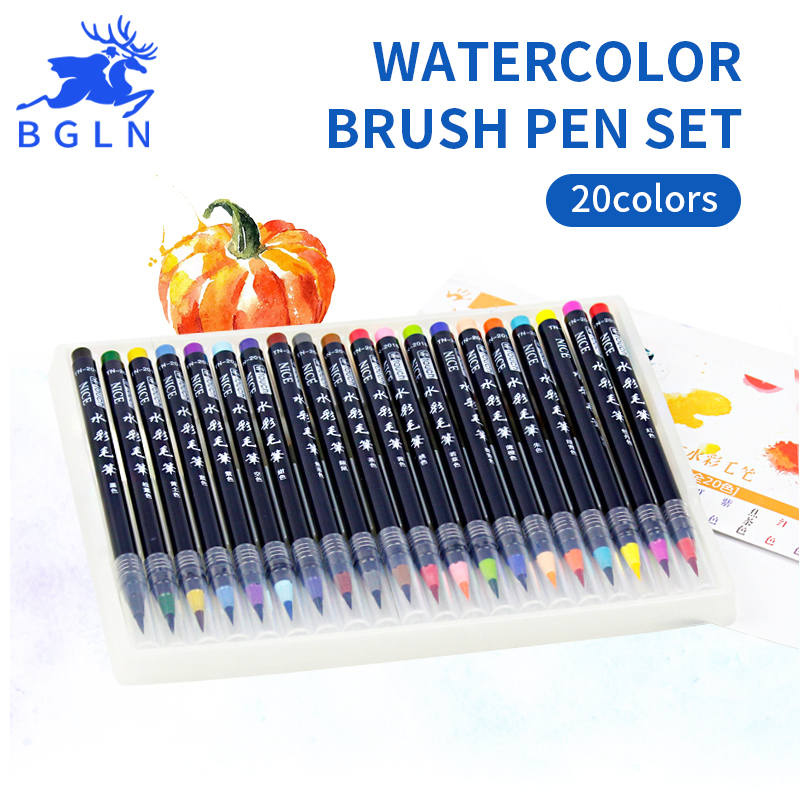 Bgln 20 Colors Painting Brush Set Soft Drawing Watercolor Marker Painting Brush For School Student Manga Brush Pen Art Supplies dainayw 12 cool grey colors marker pen grayscale dual head art markers set for manga design drawing school student supplies