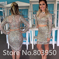 Luxury Cocktail Dress Full Beading Shine Vestidos De Coctel Long Sleeve Two Piece Cocktail Dresses Fashion Party Dresses