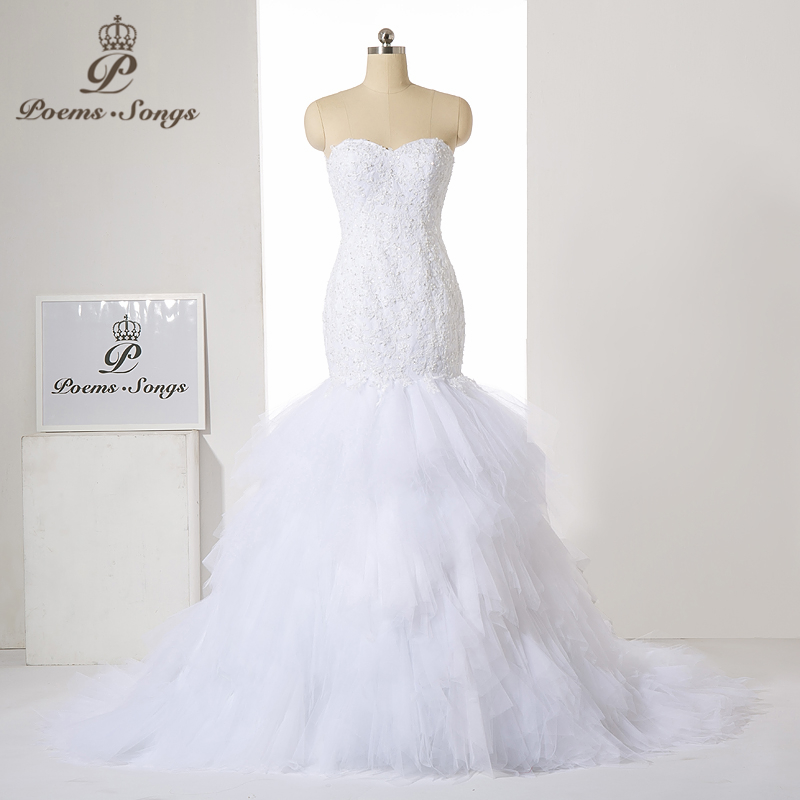 PoemsSongs new style Luxury custom  High-quality Appliques strapless mermaid wedding dress 2020 Vestido de noiva