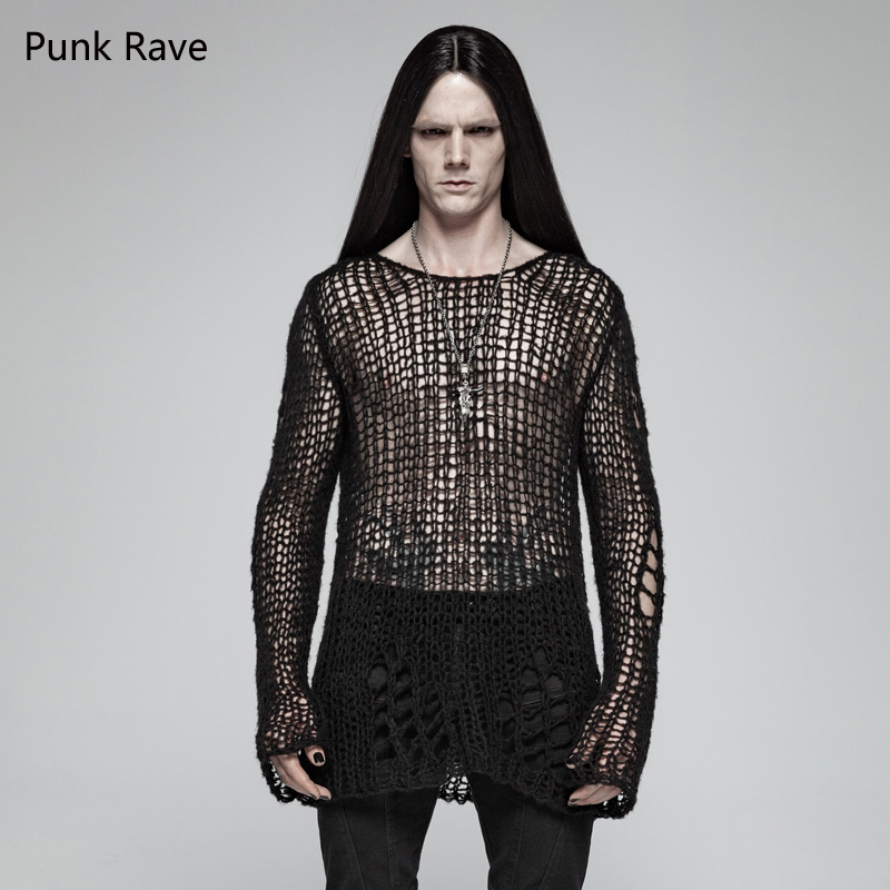 PUNK RAVE Men Black Gothic Style Casual Hole Pullovers Personality Men's Steampunk Cool Sweater Sexy Club Party Men Tops Shirt