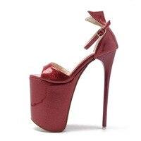 Kobiety lato sexy pole dance black red peep toe pokrycie obcasa na ekstremalne cienki wysokie obcasy sandały damskie platformy 20 cm pompy