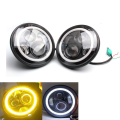 2 PC/Pair Coche H4 7 Pulgadas 40 W Ronda LED Souce Luz Angel Eyes Kit Anillo Del Halo de la Linterna Auto Para Jeep Wrangler JK CJ DC10-30V Hi/Low