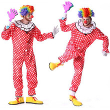 2017 Red Dot Circus Clown Cosplay Costume For Adults Men Stage Pefroamnce Wear Jumpsuits Halloween Carnival Party Dress Decor