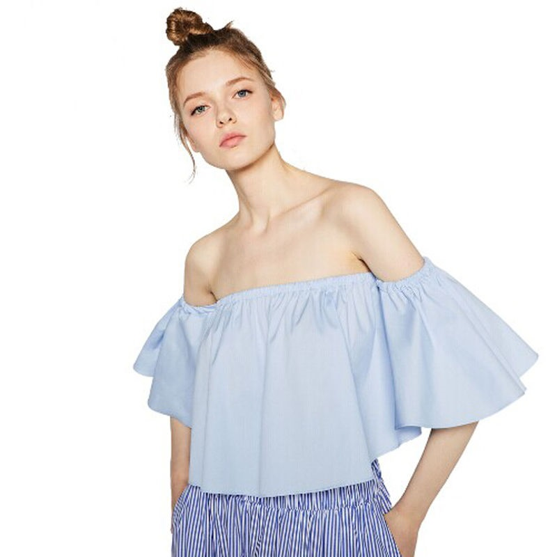2017 New Fashion Trend Women Smock Top Off Shoulder Slash Neck Cute Brief Ruffles Girls Petite Structured Bardot Top Short Tee