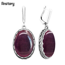 Oval Dark Purple Opal Earrings For Women Antique Silver Plated Party Hollow Flower Pendant Fashion Jewelry TE351