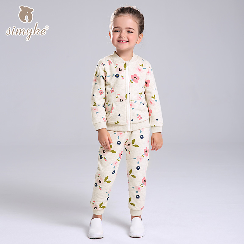 Simyke Children's Casual Sets 2017New 2pcs Set for Girl Jacket+Sport Trousers Toddler Girl Set Kids Clothes Kids Clothing W0085 brand cute toddler girl clothes rainbow color sling 2 pcs baby girl clothing sets for 6m 3y free shipping