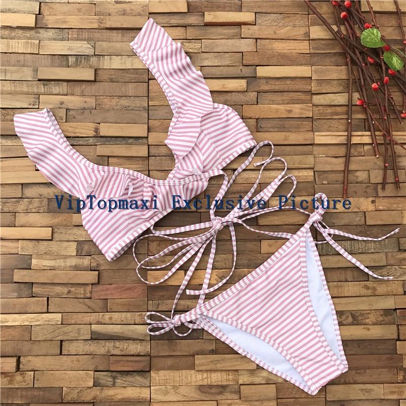 Hot Sexy Trikini Thong Brazilian Bikini 2017 Lovely Pink Striped Ruffled  Wrap Bikinis Swimwear Bandage Swimsuit Maillot de bain
