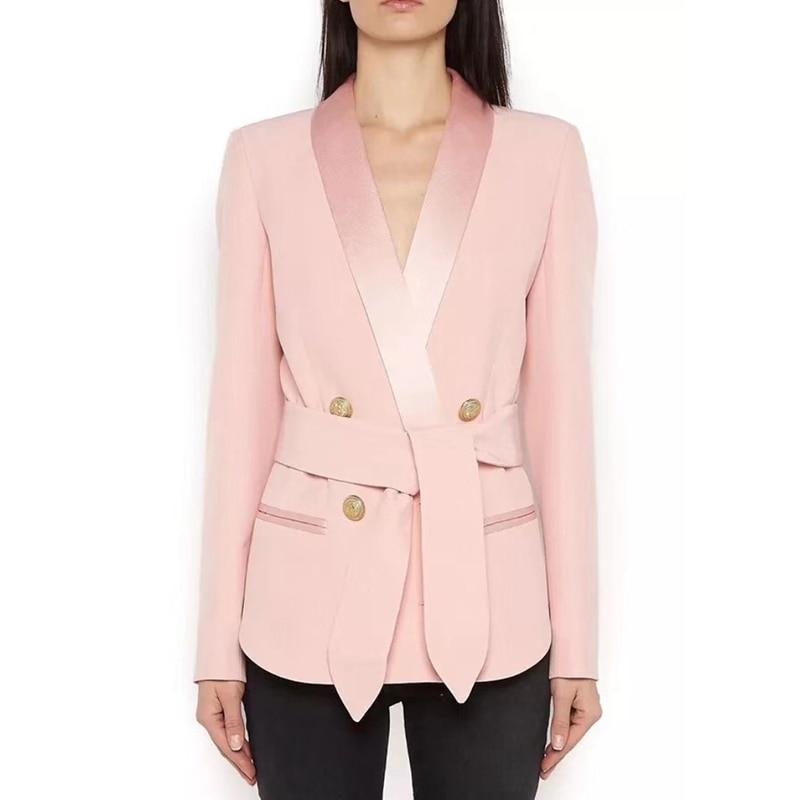 HIGH STREET Newest Fashion 2020 Designer Blazer Women's Shawl Collar Double Breasted Metal Buttons Belt Blazer Jacket